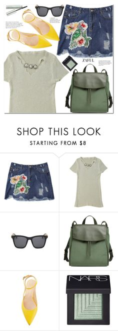 """""""Sequins floral frayed denim skirt"""" by duma-duma ❤ liked on Polyvore featuring Skagen, NARS Cosmetics and Origins"""
