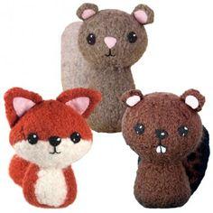 CraftyAlien® - Backyard Critters 1 Felted Knit Amigurumi Pattern: Fox, Squirrel & Beaver. $6.00