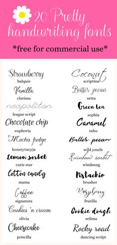 The best feminine handwriting fonts, free for commercial use! Try these pretty fonts for your blog or graphic design project today! #blogging #freefonts #graphicdesign #design