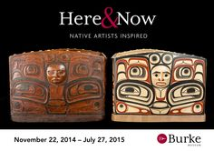 19th Century Tsimshian feast dish (unknown artist) and a feast bowl by David A. Boxley, Tsimshian, 2014. Here & Now: Native Artists Inspired exhibition runs November 22, 2014 - July 27, 2015 at the Burke Museum in Seattle, WA.