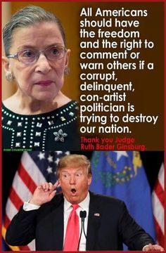 God bless you Justice Bader! Justice Ruth Bader Ginsburg calls Trump a 'faker,' he says she should resign… Satire, Justice Ruth Bader Ginsburg, Religion, Politicians, Social Justice, Just In Case, Donald Trump, Presidents, Wisdom