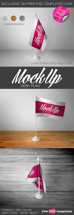 3 Free Desk Flag Mock-ups in PSD | Free PSD Templates