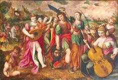 Frans Floris (Schule) Bejubelung Davids nach dem Kampf mit Goliath.