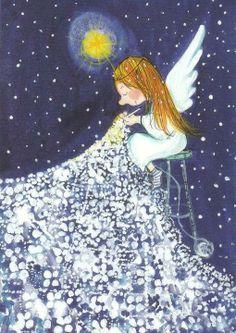 Knitting illustration paintings Ideas for 2019 Art And Illustration, Illustrations, Christmas Angels, Christmas Art, Angels Among Us, Guardian Angels, Angel Art, Whimsical Art, Cherub