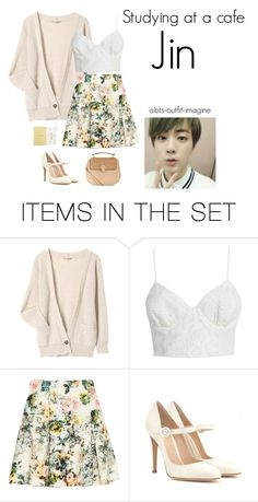 """""""studying at a cafe"""" by effie-james ❤ liked on Polyvore featuring art, simple, kpop, korean, bts and jin"""