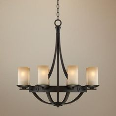 "Sperry 28"" Wide Bronze and Scavo Glass Chandelier -"