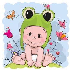 Cute cartoon baby vector art illustration