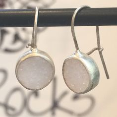 Bright White Druzy Earrings set in Brushed Sterling Silver, Circle Drop - hoperocksjewelry