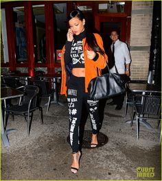 rihanna chats on the phone 01 Rihanna chats on her phone as she steps out after dinner at Silvano Restaurant on Thursday evening (November 13) in New York City.    That same day, the 26-year-old…