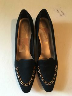 Vintage Black Suede Kitten Heels with Gold Chain Detail - Shelby Black Slip on Dress Shoes by VintageBobbieMaude on Etsy https://www.etsy.com/listing/474060959/vintage-black-suede-kitten-heels-with
