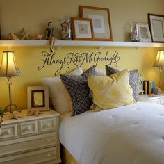 Instead of a headboard, put up a long shelf, cute idea- love the yellow!!