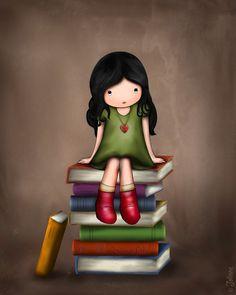 sitting on books...