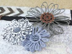 Wonderful Father and Twine Flower Tutorial Update by Tracey Sabella for Really Reasonable Ribbon: Close-Up Twine Flowers. I've updated my twine flower tutorial with some new information and images of completed projects