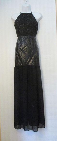 DO+BE Black Lace Faux Leather Mermaid Maxi Halter Dress, M #DoBe #Sexy #Clubwear