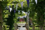 Lilac and Purple Bunting available from Bunting Queen's Hire House, from per metre for a 4 day hire period. Fabrics include stripes, checks, plain cottons and polka dots. Lilac, Purple, Bunting, Period, Polka Dots, Fabrics, Action, Stripes, House