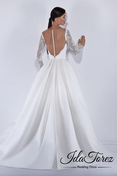 New Design A-Line Sweetheart Natural Court Train Satin Ivory Long Sleeve Buttons Wedding Dress Sashes 01030 Wedding Dress Buttons, Wedding Dress Sash, Open Back Wedding Dress, Wedding Dress Sleeves, Long Sleeve Wedding, Wedding Dresses, Offbeat Bride, On Your Wedding Day, Marry Me
