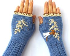 Knitted Fingerless Gloves, Ribbon Embroidery, Gift Ideas, For Her, Fashion Accessories, Winter Accessories, Gloves & Mittens, Blue, Ivory
