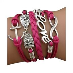 Magenta Owl, Love and Anchor Arm Party Bracelet