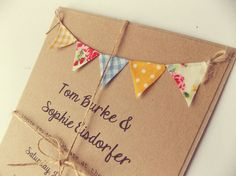 Country Bunting Wedding Invitation. 'Vintage Spring' Unique and Quirky invite. Blue and yellow gingham, polka dots and floral bunting