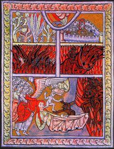 Hildegard von Bingen Hildegard est née à Bermersheim, Visions, Scivias, 1142-1152, Miniature sur parchemin