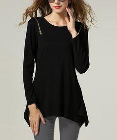 b891b184005c Love this OCHANAL Black Zip Handkerchief Tunic by OCHANAL on  zulily!   zulilyfinds Zulily