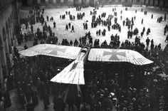 A captured German Taube monoplane on display in the courtyard of Les Invalides in Paris in 1915. The Taube was a pre-World War I aircraft only briefly used on the front lines. More bird-like in appearance.