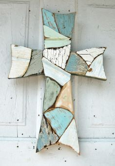 Mosaic Wall Cross Reclaimed Wood Blue Green Distressed Primitive Rustic. $34.00, via Etsy.
