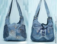 Сумка джинсовая двусторонняя-5 - синий,однотонный,джинсовый стиль,джинсовая сумка