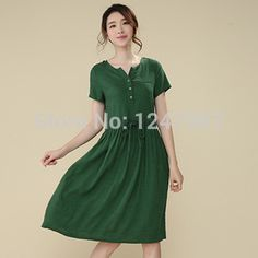 2014 women's summer cotton dress new V neck short sleeve denim dress high quality casual dress solid color plus size-in Dresses from Women's Clothing & Accessories on Aliexpress.com | Alibaba Group