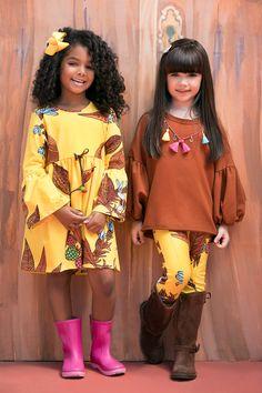 Coleção   Camu Camu Girls Fashion Clothes, Kids Fashion, Fashion Outfits, Maxi Kaftan, Girls World, Cute Little Girls, Sewing For Kids, Diy Clothes, Boho Fashion
