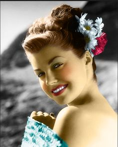 Esther Williams c via (beautiful colored photo of her)