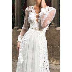 Luxusné dlhé svadobné šaty s dlhými rukávmi zdobené krajkou s perličkovým opaskom Lace Wedding, Wedding Dresses, Fashion, Bride Dresses, Moda, Bridal Gowns, Fashion Styles, Weeding Dresses, Wedding Dressses