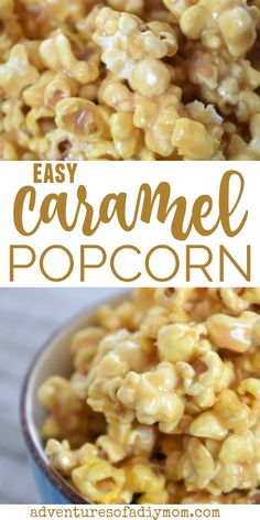 Treat yourself to this soft and chewy homemade caramel popcorn. The recipe uses sweetened condensed milk and is SO easy! Treat yourself to this soft and chewy homemade caramel popcorn. The recipe uses sweetened condensed milk and is SO easy! Caramel Corn Recipes, Candy Recipes, Sweet Recipes, Snack Recipes, Cooking Recipes, Carmel Popcorn Recipe Easy, Homemade Carmel Popcorn, Pop Corn Caramel, The Best Caramel Corn Recipe