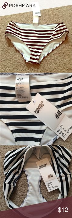 3fc0ec732f B W striped hipster bikini bottom Black and white striped bikini bottom  from H M. Style of bottom is hipster. Size runs small. H M Swim Bikinis