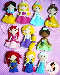Princesas de Disney para decorar un cumple o como souvenirs!! #princesasdisney #fieltro #souvenir #deco #disney #tinaguscreaciones