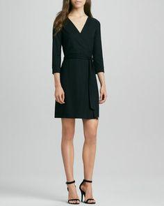 New Julian Two Mini Wrap Dress, Black by Diane von Furstenberg at Neiman Marcus.