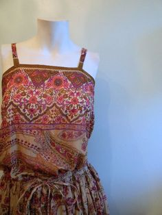 vintage. 70s Indian Gauze Cotton Dress Set  / Two by styleforlife, $130.25