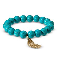 Women's Semi-Precious Beaded Stretch Bracelet with Tassel - Turquoise/Gold