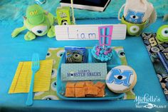 Place setting at a Monsters Inc Party #monstersinc #party