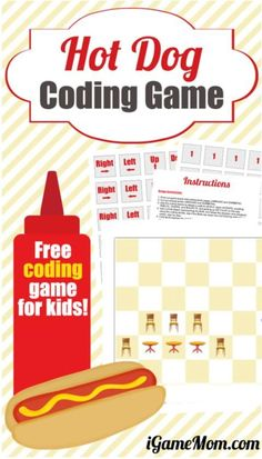 Crucial Computer Coding Skills You Can Teach Kids at Home Free coding games for kids: Hot Dog Coding Game, plus activity ideas on teaching the 5 most important coding skills to kids with the free game Stem For Kids, Science For Kids, Games For Kids, Fun Games, Kids Learning Activities, Science Activities, Learning Resources, Science Projects, Coding Games For Beginners