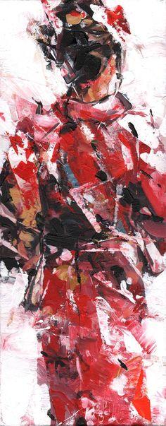 'Kimono'. Affordable painting by Dorus Brekelmans. Betaalbaar schilderij 'Kimono', 20 x 50 cm, 490 euro. Acryl op doek. info@kunstkapers.nl. www.kunstkapers.nl