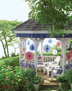 Stars-and-Stripes Gazebo Trim  Box-pleated bunting adds a crowning touch to a gazebo or other outdoor structure.  I can see using pretty scrapbook paper too!