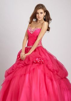 Organza Flower With Beading Strapless Sweetheart Top Applique Embellishment Sweet 16 Dresses / Ball Gown / Quinceanera Dresses