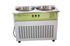 commercial stainless steel two flat pans fried ice cream machine