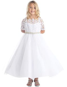 Laurel - Scalloped Lace Long Sleeve Formal DressThis is an elegant white formal dress perfect for a natural pageant, wedding party , or special occasion. THis dress come in toddlers sizes up to plus size 20.
