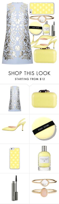 """Decorated Light Yellow"" by egordon2 ❤ liked on Polyvore featuring Dolce&Gabbana, Jimmy Choo, Manolo Blahnik, Bobbi Brown Cosmetics, Bottega Veneta, MAC Cosmetics and Accessorize"