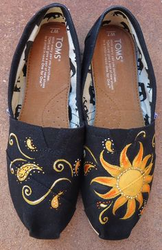Sunburst TOMS. $100.00, via Etsy. This artist is amazing! I have a pair of hand painted Toms from him and I love them!