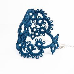 Navy blue delicate lace bracelet - lace fashion - handmade lace