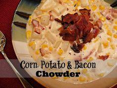 eat dinner, chowder recipes, clean eat, chowders, yum, bacon chowder, eat meal, easy corn chowder recipe, potato bacon