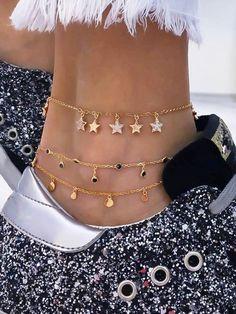 Star Charm Chain Anklet Set Women-romwe - Anklet - Ideas of Anklet - Star Charm Chain Anklet Set Women-romwe Ankle Jewelry, Ankle Bracelets, Cute Jewelry, Women Jewelry, Fashion Jewelry, Wrap Bracelets, Pandora Bracelets, Body Jewelry, Fashion Accessories